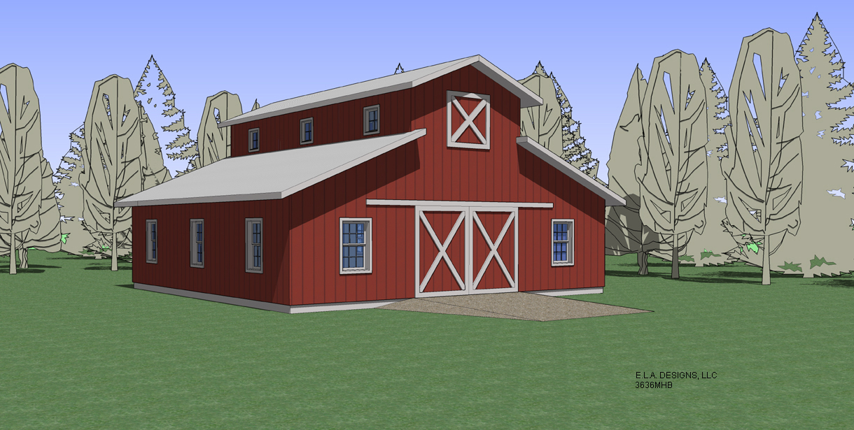 Barn plan 3636mhb for Monitor style barn plans